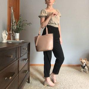 Minimalist neutral pink small tote